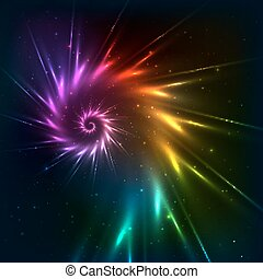 Abstract vector rainbow fractal spiral background - Abstract...