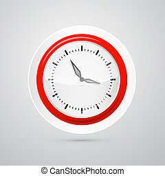 Abstract Vector Red and White Clock Isolated on White Background