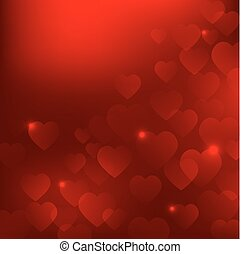 Abstract vector red Valentine's Day background with hearts EPS10