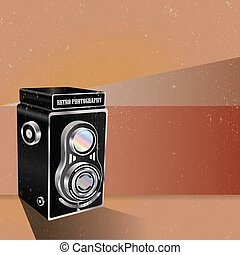 Abstract vector retro background with the old camera