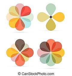 Abstract Vector Retro Flowers Set Illustration