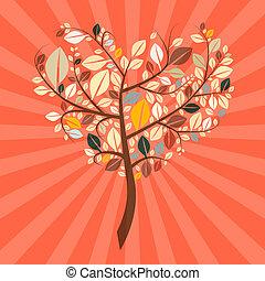 Abstract Vector Retro Heart Shaped Tree Illustration