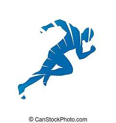 Abstract vector runner. Blue rays, running man silhouette