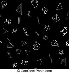 abstract vector school doodles seamless pattern