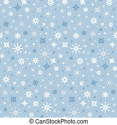 Abstract Vector Seamless Blue Winter Background with Snowflakes