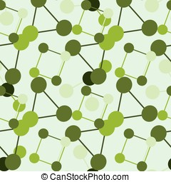 abstract vector seamless pattern of green molecules