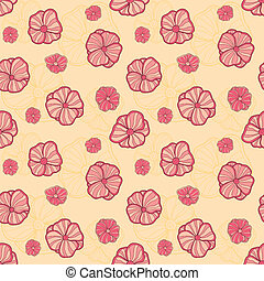 Abstract vector seamless pattern with doodle flowers