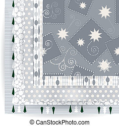 Abstract vector set of Christmas seamless backgrounds.