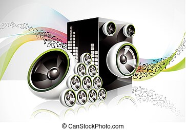 Abstract vector shiny design with speakers on waves background.
