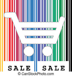 Abstract vector shopping cart and barcode