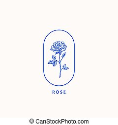 Abstract Vector Sign, Symbol or Logo Template. Blossom Rose...