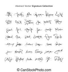 Abstract Vector Signature Collection, Handwritten Unique and Personal Decorative Autographs.