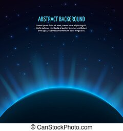 Abstract vector space background with planet and rising sun