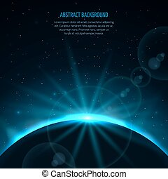 Abstract vector space fantastic background with planet and rising star