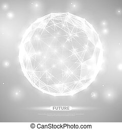 Abstract vector sphere. Futuristic technology wireframe mesh...