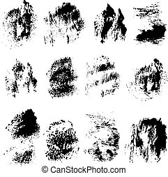 Abstract vector spots of black ink on white background