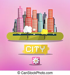 Abstract Vector Spring City on Pink Background