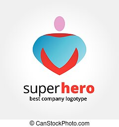 Abstract vector super hero logotype concept isolated on white background. Key ideas is business, team, sport, command, leadership, boss. Concept for corporate identity and branding