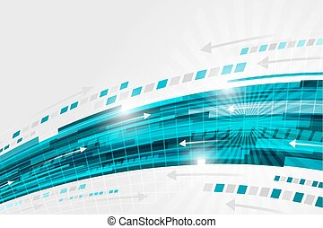 Abstract vector technology background with blue swoosh, arrows and glitter.