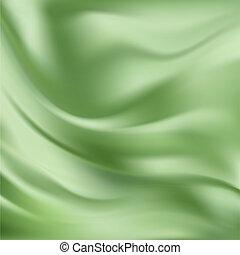 Beautiful Green Silk. Drapery Textile Background, Mesh Vector Illustration