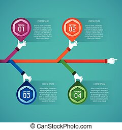 Abstract vector timeline infographic template in flat style for layout workflow scheme, numbered options, chart or diagram