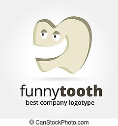 Abstract vector tooth character logotype concept isolated on white background