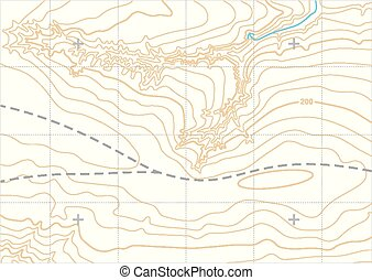Abstract vector topographic map in brown colors with...