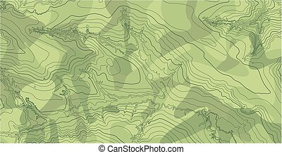 Abstract vector topographic map in green colors - Abstract...