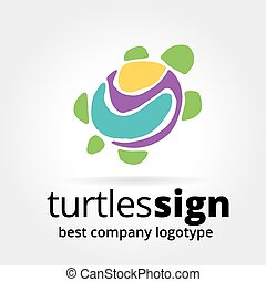 Abstract vector tortoise logotype concept isolated on white...