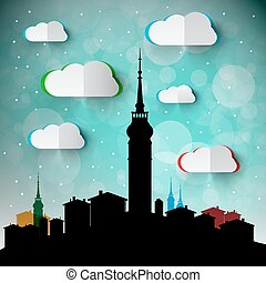 Abstract Vector Town - City with Big Tower Silhouette. Winter Landscape with Paper Cut Clouds.