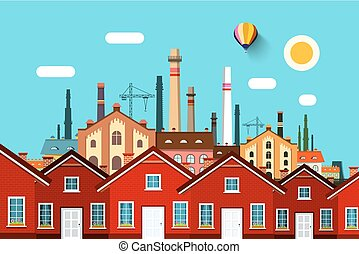 Abstract Vector Town with Factory on Background