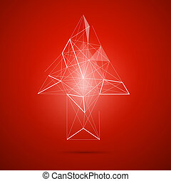 Abstract vector transparent arrow on red background