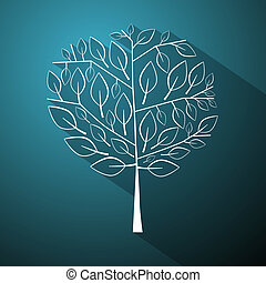 Abstract Vector Tree Illustration on Blue Background