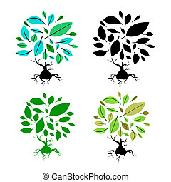 Abstract Vector Tree Illustration Set