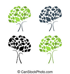 Abstract Vector Tree Illustration Set Isolated on White Background