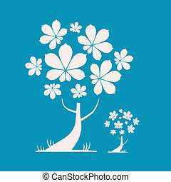 Abstract Vector Tree Illustration with Chestnut Leaves on Blue Background
