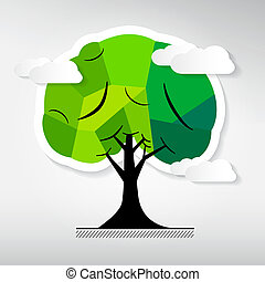 Abstract Vector Tree Isolated on Grey Background