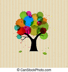 Abstract Vector Tree With Colorful Blob