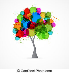 Abstract Vector Tree With Colorful Blots, Splashes