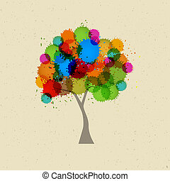 Abstract Vector Tree With Colorful Splashes