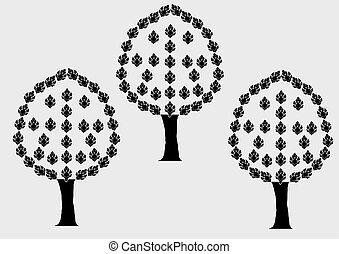 abstract vector tree with leaves