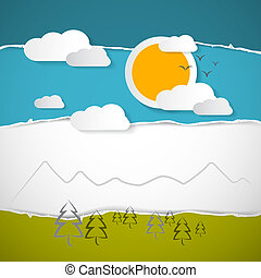 Abstract Vector Trees, Clouds, Mountain, Sun on Retro Torn Paper Background