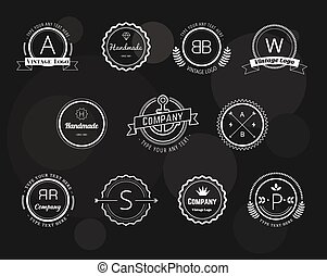 Abstract vector vintage logo design elements set. Arrows, ...