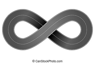 Abstract vector volume illustration of infinity endless road isolated on white background.