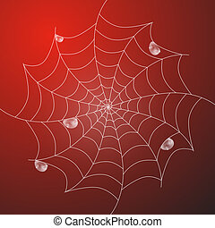 Abstract Vector White Cobweb With Rain Drops on Red Background