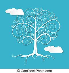 Abstract Vector White Tree Illustration with Clouds on Blue Background