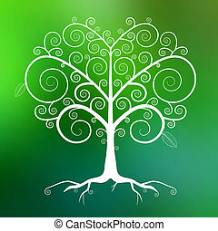 Abstract Vector White Tree Illustration on Green Blurred Background