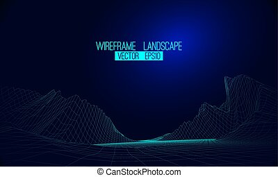 Abstract vector wireframe landscape background. Cyberspace grid. 3d