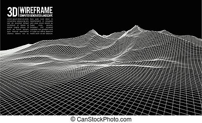 Abstract vector wireframe landscape background. Cyberspace...