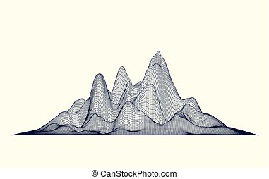Abstract vector wireframe mountains. Cyberspace grid